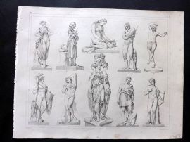 Heck 1849 Antique Print. Statues/Sculpture